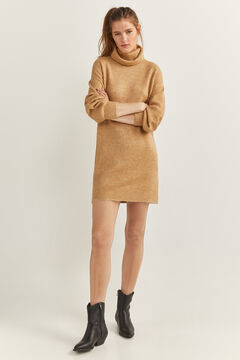 Springfield Voluminous Sleeve Jersey-Knit Dress tan