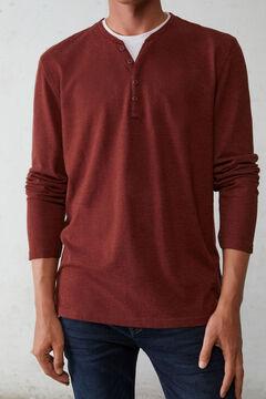 Springfield Long-sleeved piqué T-shirt bordeaux
