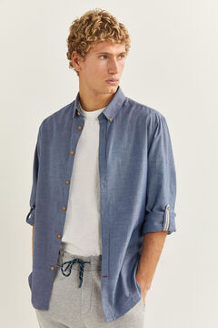 Springfield Textured shirt indigo blue
