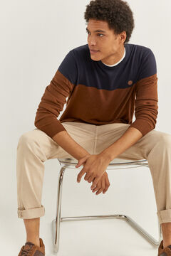 Springfield COLOUR BLOCK MELANGE JUMPER beige