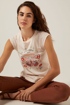 Springfield Organic cotton Everything Will Be Amazing T-shirt pink