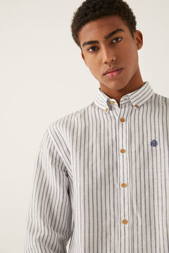 Springfield Striped embroidered logo shirt bluish