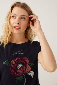 Springfield Camiseta dibujo lentejuelas marino