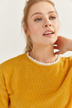 Springfield Chenille Lace Neck T-shirt yellow