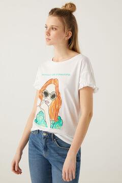 Springfield T-shirt graphique manches volant blanc
