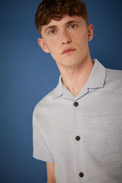 Springfield Short-sleeved textured bowling shirt bluish