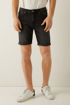 Springfield Black slim fit denim Bermuda shorts black