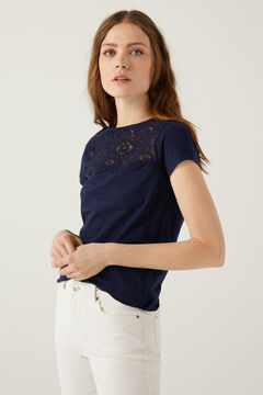 Springfield Crochet yoke T-shirt steel blue