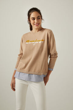 "Springfield Pullover ""Bonjour"" Bio-Baumwolle camel"