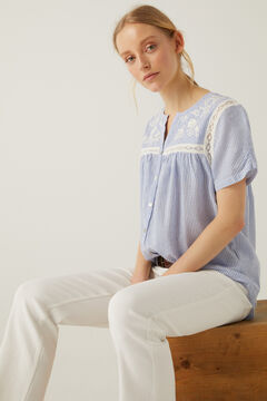 Springfield Embroidered lace blouse bluish