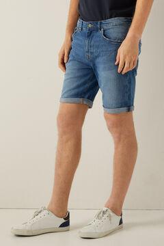 Springfield Slim fit medium wash denim Bermuda shorts steel blue