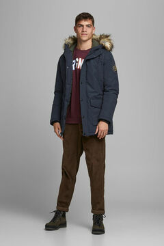 Springfield Parka with fur hood navy