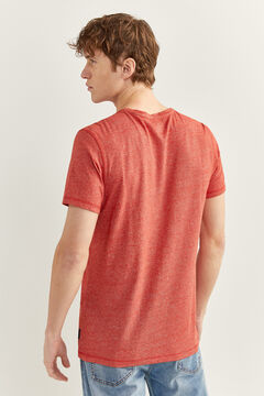 Springfield Textured t-shirt with pocket deep red