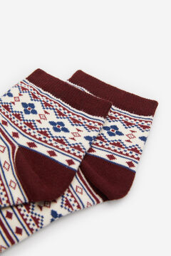 Springfield Jacquard Trim Socks deep red