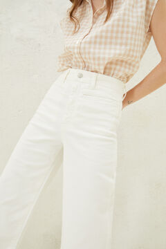 Springfield Jeans culotte taille haute blanc