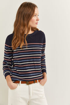 Springfield Striped Textured Jumper blue