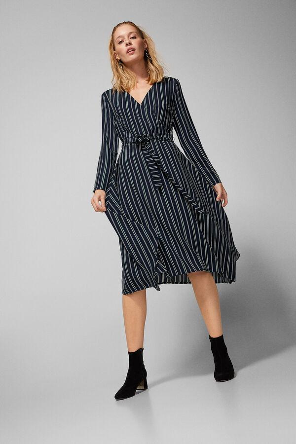 Springfield Asymmetric Striped Dress Blue
