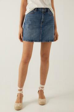 Springfield Essential denim skirt steel blue