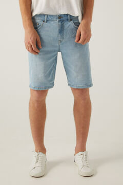 Springfield Slim fit light wash denim Bermuda shorts indigo blue