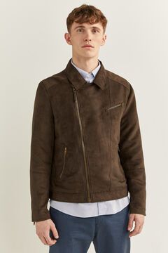 Springfield Faux suede perfect jacket brown