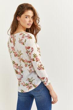 Springfield T-shirt lace épaules imprimé écru