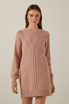 Springfield Structured cable knit dress pink