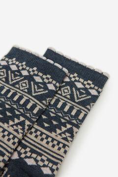 Springfield Jacquard Trim Long Socks blue