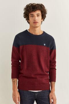 Springfield ORGANIC COTTON COLOUR BLOCK JUMPER deep red