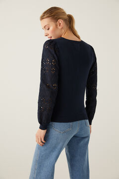 Springfield Swiss Embroidery Sleeves Jumper indigo blue