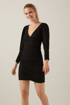 Springfield Voluminous sleeve tube dress black