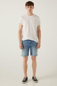 Springfield Medium wash denim Bermuda shorts steel blue