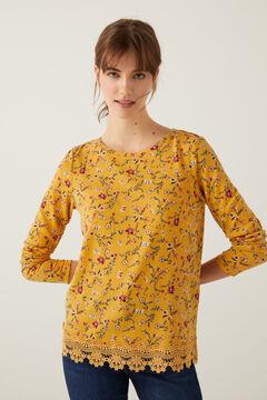 Springfield Camiseta bajo crochet amarillo