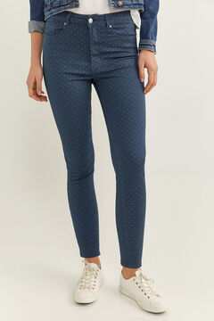 Springfield Skinny High Rise Eco Dye Trousers indigo blue
