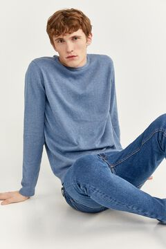 Springfield Melange cotton jumper with elbow pads blue