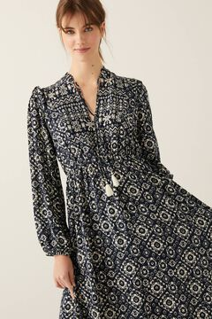 Springfield Geometric Border Print Midi Dress indigo blue