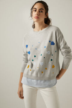 Springfield Organic cotton embroidered hearts jumper grey