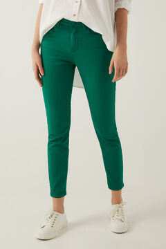 Springfield Eco dye slim fit cropped trousers dark green