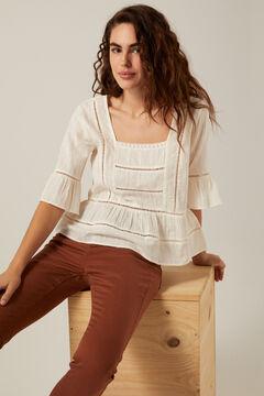 Springfield Openwork embroidered blouse medium beige