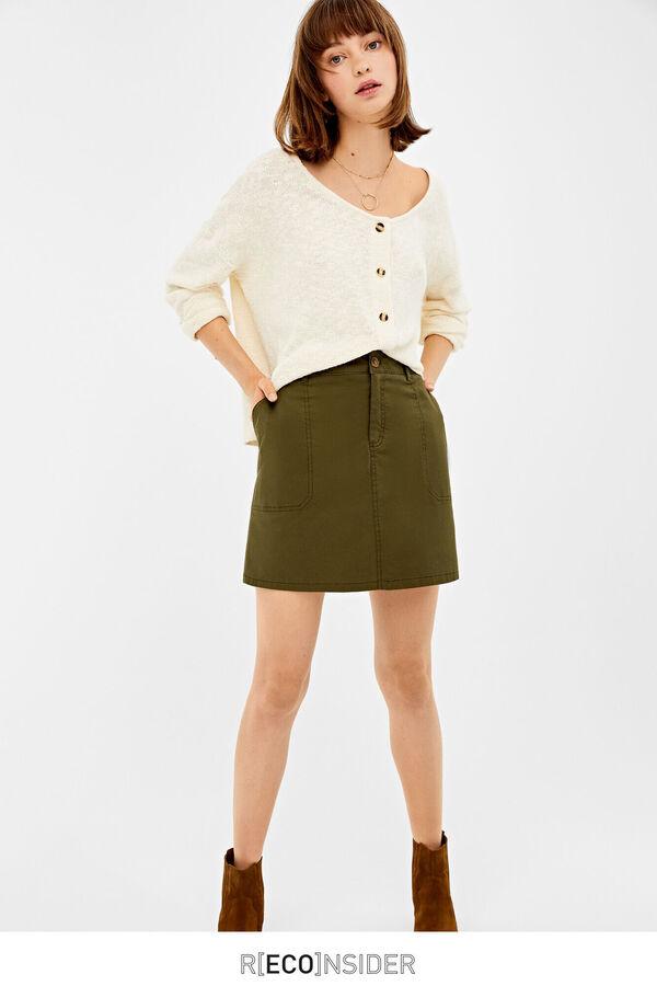 06c72d3fad05 Springfield Chino skirt with stitching dark green