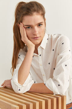 Springfield Embroidered Polka Dots Blouse white