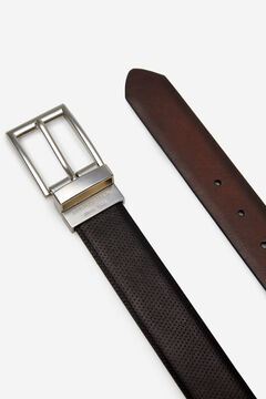Springfield Reversible embossed faux leather belt black