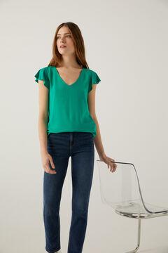 Springfield Flounced sleeve two-material t-shirt dark green