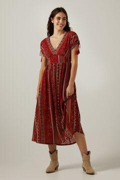 Springfield Ethnic border print midi dress deep red
