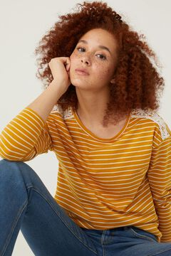 Springfield Crochet shoulders striped t-shirt yellow