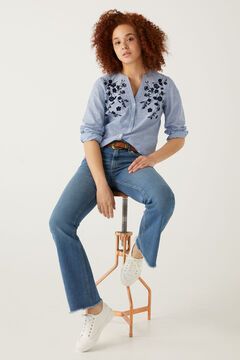 Springfield Relief Flowers Printed Shirt blue mix