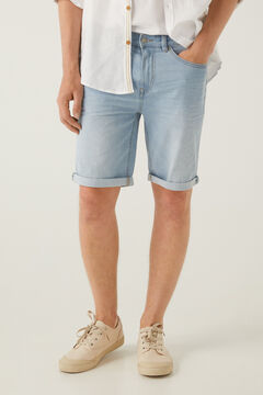 Springfield Light wash lightweight denim Bermuda shorts royal blue