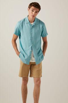 Springfield Coloured short-sleeved bowling shirt blue