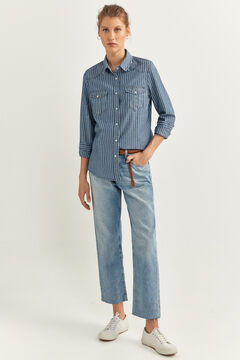 Springfield Striped denim shirt steel blue