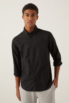 Springfield Stretch pinpoint shirt black