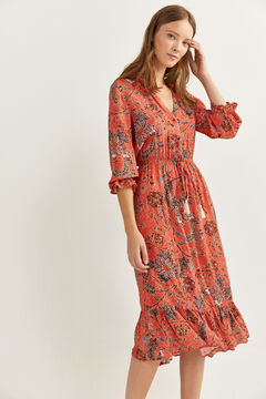 Springfield Printed midi dress  pink